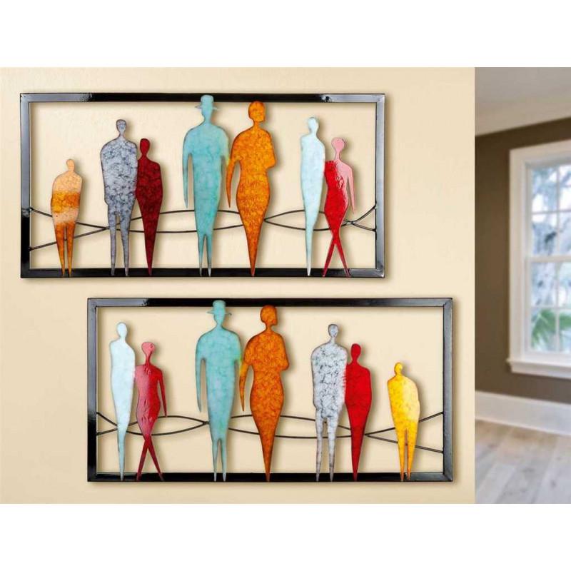 GILDE Wandrelief Menschen 2 Stück 80x40 cm