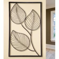 GILDE Metall Wandrelief 3 Blätter braun 60x100 cm