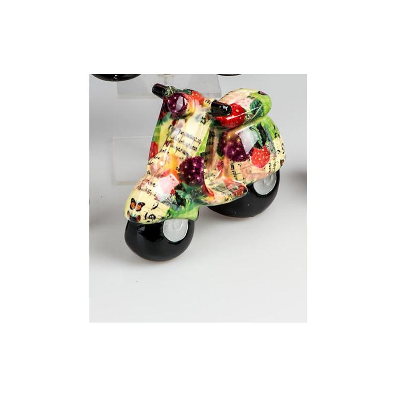 Spardose Roller Flower Power Motorroller grün gelb rot 20 cm