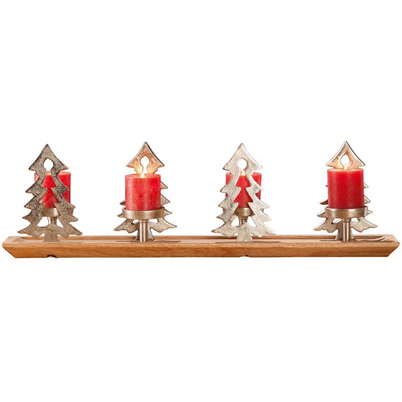 dekojohnson Kerzenhalter Adventskranz Weihnachten silber Alu Holz