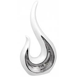 dekojohnson Deko Skulptur Welle Keramik weiss silber 18x35cm