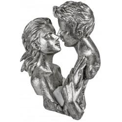 dekojohnson moderne Deko Büste Skulptur Paar Silber 24x29cm