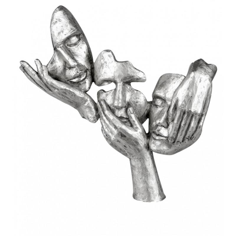 dekojohnson Büste Masken Skulptur Weiss Silber 30x34cm