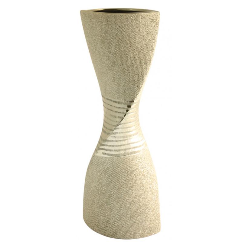 GILDE Moderne Vase Sanduhr champagner Keramik Serie