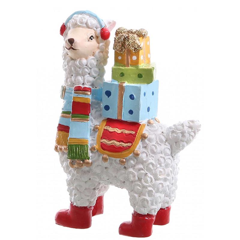 dekojohnson Dekofigur Lama mit Sattel weiss bunt 6,5x3x9cm