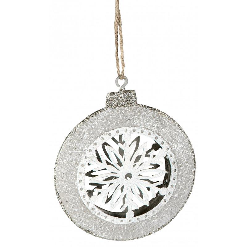dekojohnson Dekohänger Metall Kugel Eiskristall weiß silber