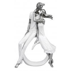 dekojohnson moderne Skulptur Paar sitzend Weiss Silber 18x29cm