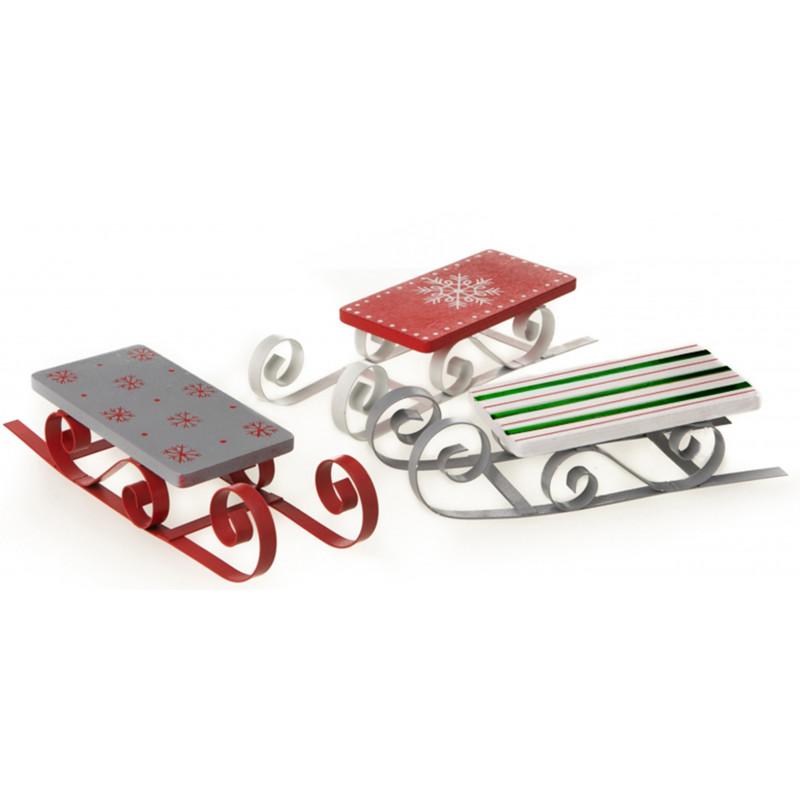dekojohnson Deko-Schlitten aus Holz und Metall im Dreier Set Weihnachtsdeko Nostalgie-Deko grau rot grün weiß 18x6x3,5cm