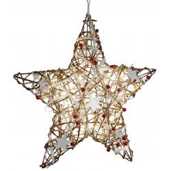 dekojohnson Fensterdeko Weihnachten Metall Stern Rattan LED braun rot 40cm