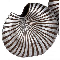 dekojohnson Deko Vase Keramik Loch reliefartige Oberfläche schwarz silber 24x17cm