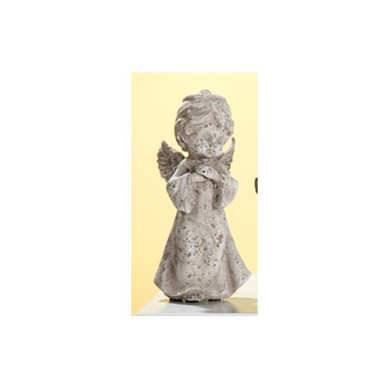 GILDE antike Engelsfigur im Steinlook, 18 cm