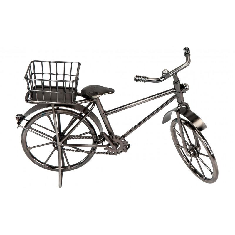 dekojohnson Deko Fahrrad mit Korb glasiertem Eisen schwarz 24cm