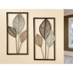 Gilde Metall Wandrelief Blätter 2 Stück
