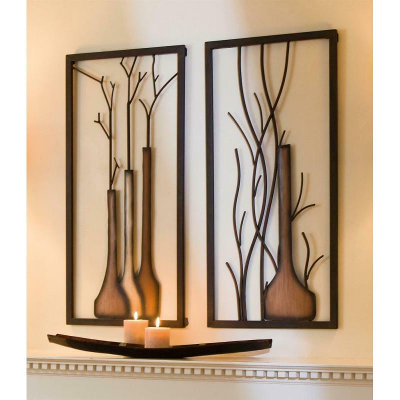 Gilde Metall Wandrelief Vase schwarz braun