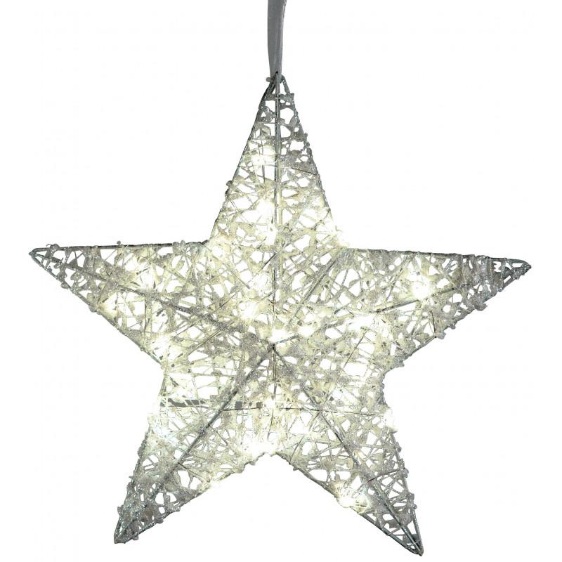 dekojohnson LED Fensterdeko Weihnachten Metall Stern geeistes Acryl