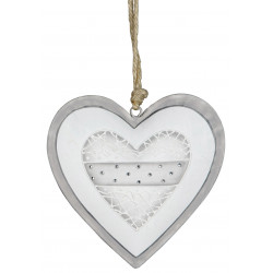 formano Hängedeko Herz aus Metall mit Perlen grau weiß 26 cm