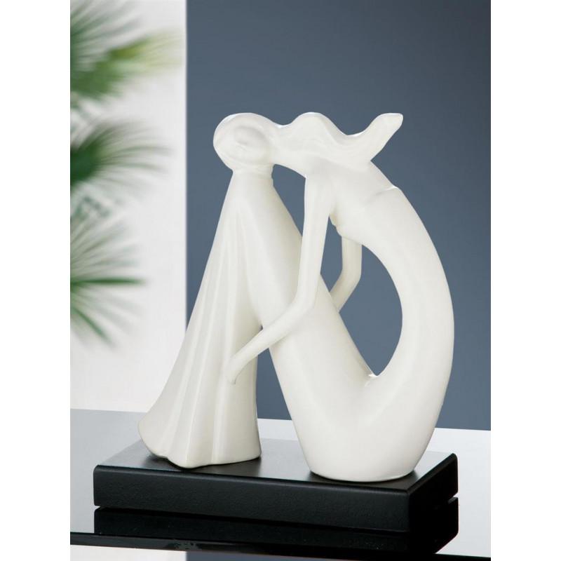 Gilde Skulptur sitzende Schönheit weiss