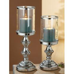 Gilde Windlicht mit Glas silber mit Spiegelplatte 36cm