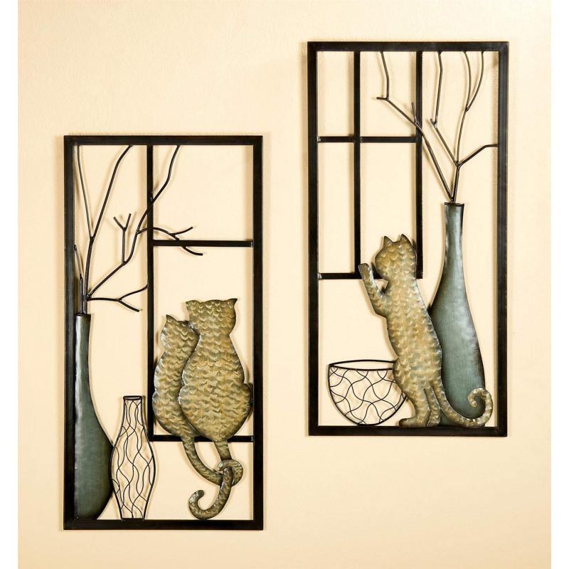 Gilde Wandrelief mit Vase und Katze 2 Stück 40x80 cm