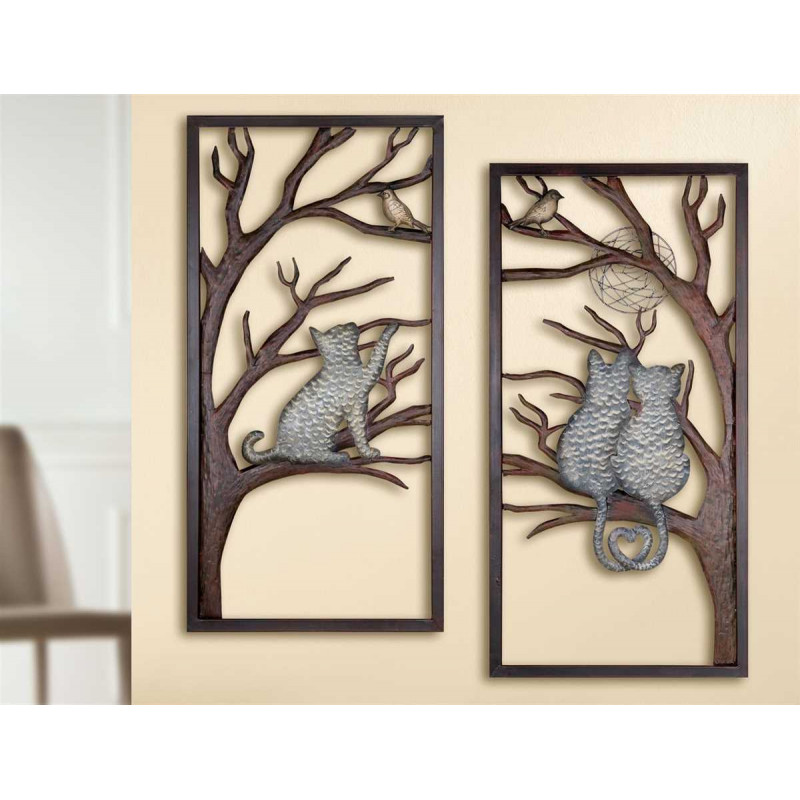 Gilde Wandrelief Katze im Baum 2 Stück 40x80 cm