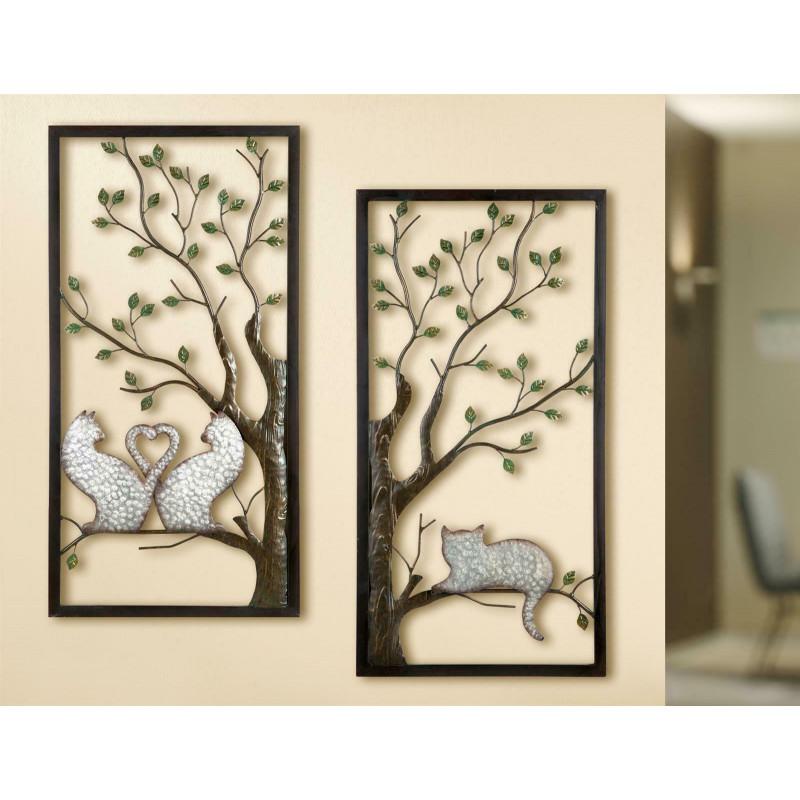 Gilde Wandrelief Baum Katze 2 Stück 40x80 cm