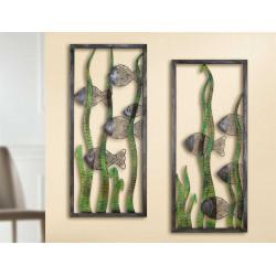 Gilde Wandrelief Schilffische 2 Stück 35x80 cm