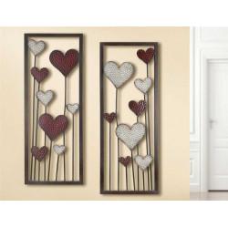 Gilde Wandrelief Herzblumen 2 Stück 30x80 cm