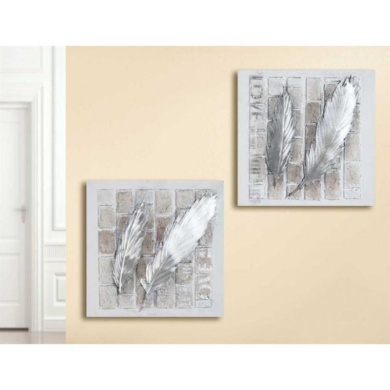 Gilde Bild Gemälde Federnpaar Love 2 Stück 50x50 cm