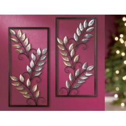 Gilde Wandrelief Blätter im Rahmen 2 Stück 40x80 cm