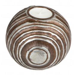 dekojohnson antiker Teelichthalter Teelichtleuchte Kerzenhalter Kugel rund braun silber 12 cm Ø Tischdeko