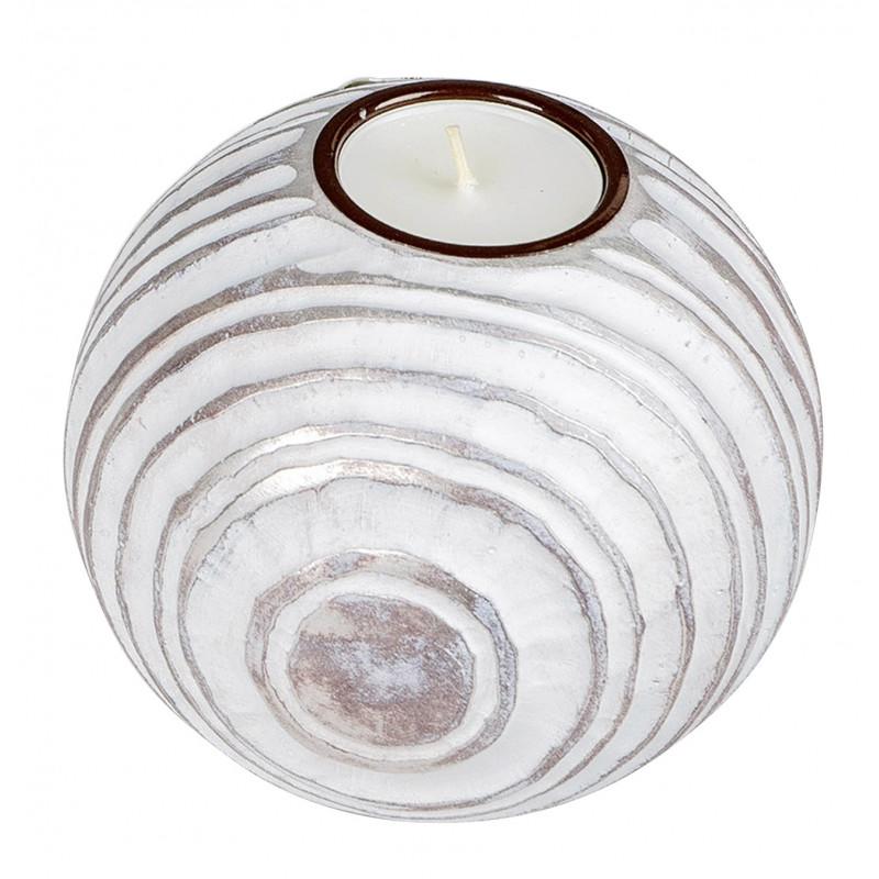 dekojohnson antiker Teelichthalter Teelichtleuchte Kerzenhalter Kugel champagner weiss matt 12 cm Durchmesser Tischdeko