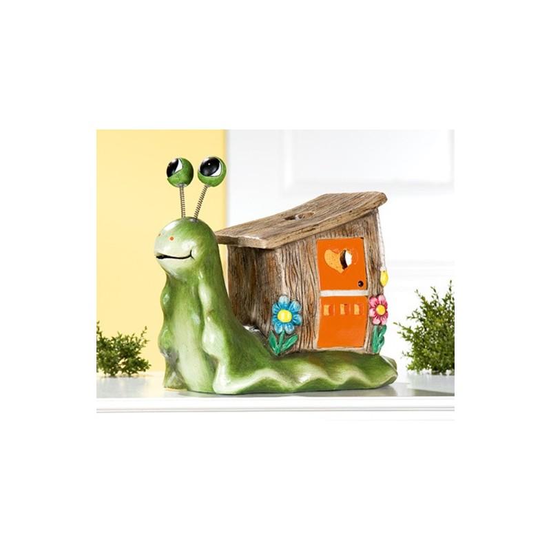 GILDE Windlicht lustige Schnecke Magnesia grün braun 32 cm
