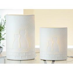 Gilde Lampe Elipse Katze auf Mauer weiß 28cm