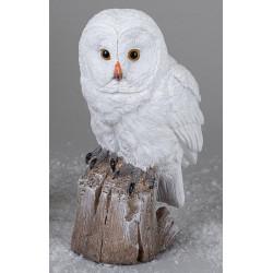formano Dekofigur Wintereule auf einem Baumstamm weiß 23 cm