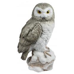 dekojohnson Eule Owl Eulen-Figur Deko-Kautz Herbsteule Herbstdeko/Weihnachten Schneeeule Wintereule Grau Weiß 25cm Groß
