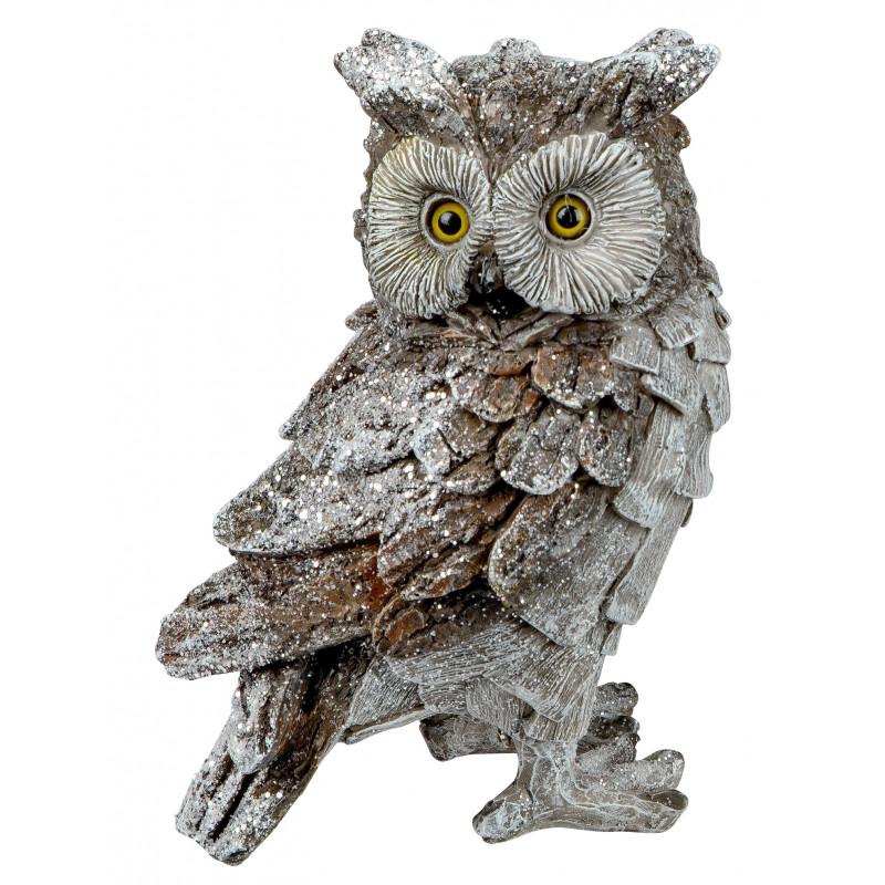 dekojohnson Eule Owl Eulen-Figur Deko-Kautz Herbsteule Herbstdeko/Weihnachten Schneeeule Landhaus Wintereule Grau 20cm Groß