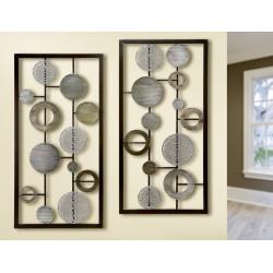 Gilde Wandrelief Scheiben und Ringe 2 Stück 40x80 cm