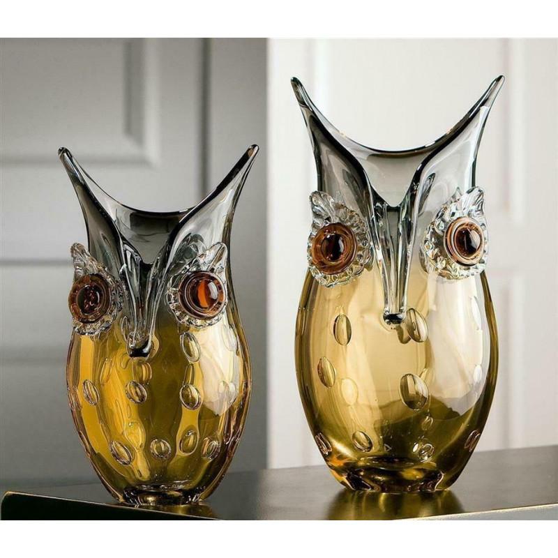 Gilde GlasArt Design Vase Eule Amber 27,00 cm