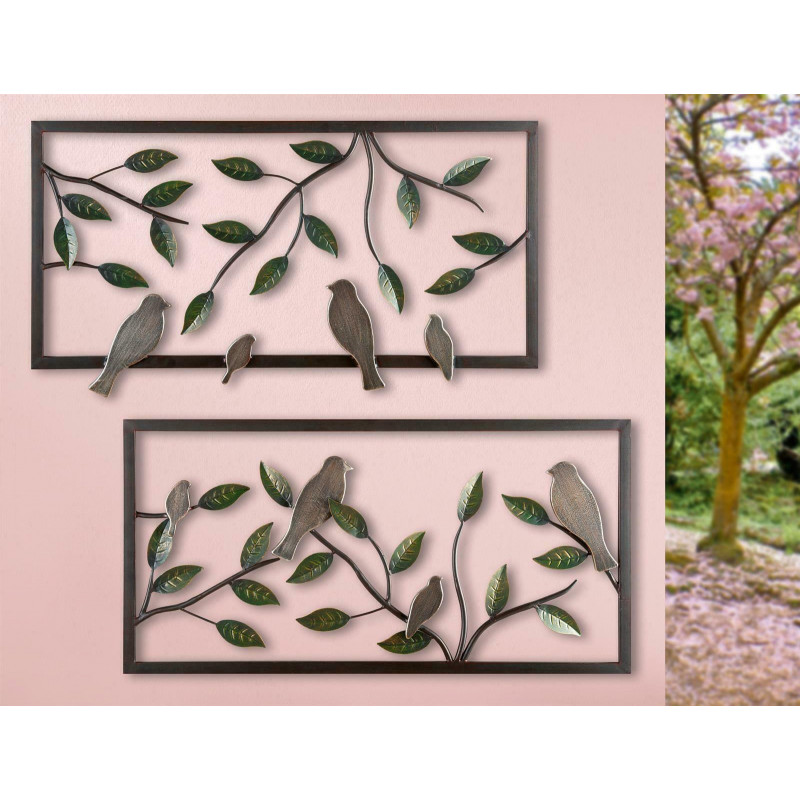 GILDE Wandrelief Vögel auf Zweigen 2 Stück 80x40 cm