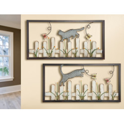 GILDE Wandrelief Katze auf Zaun 2 Stück 80x40 cm