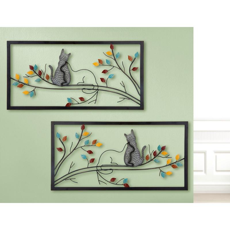 GILDE Wandrelief Katzen Duo 2 Stück 80x40 cm