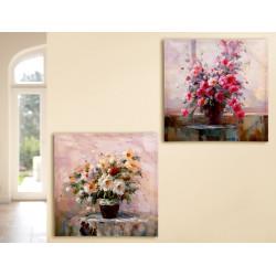 Gilde Bild Gemälde Blumenbouquet 2 Stück 60x60 cm