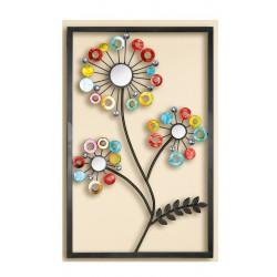 GILDE Wanddeko Blume multicolor Spiegel & Acryl 50x80 cm