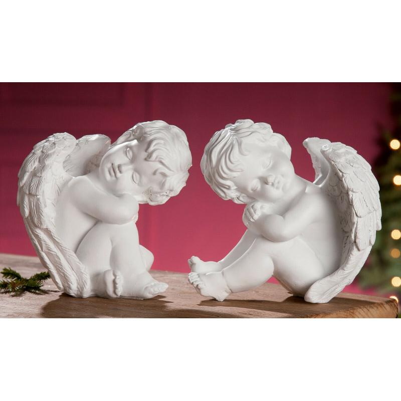 Gilde Figur Engel sitzend träumend weiß