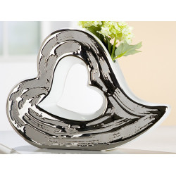 GILDE Keramik Vase Herz silber Reaktionsglasur