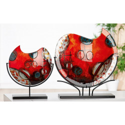 Gilde GlasArt Vase Croce schwarzer Metallfuß