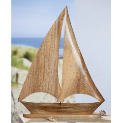 Gilde Segelschiff natur Mangoholz