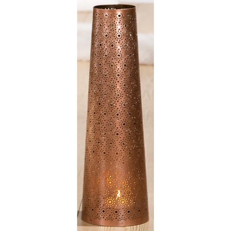 GILDE edler Metallleuchter Punkte, konisch, KUPFERFARBEN 14x45 cm