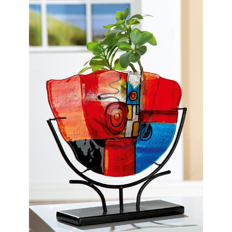 Gilde GlasArt Vase New Life schwarzer Metallfuß