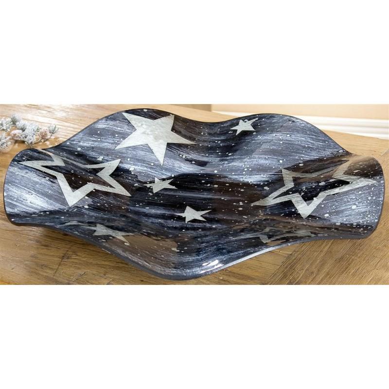GILDE Dekoschale Star anthrazit silber Wellenform 57x7,5 cm